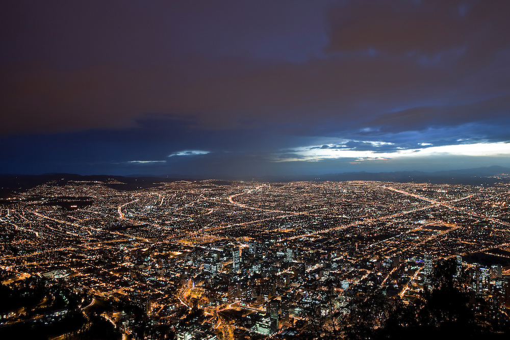 Panoramis view of Bogota from Cerro Montserrate, Colombia.