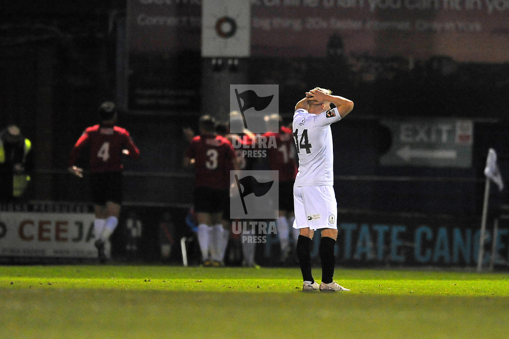 TELFORD COPYRIGHT MIKE SHERIDAN GOAL. Darryl Knights of Telford reacts after York score their second goal during the Vanarama Conference North fixture between AFC Telford United and York City at Bootham Crescent on Saturday, January 11, 2020.<br /> <br /> Picture credit: Mike Sheridan/Ultrapress<br /> <br /> MS201920-040