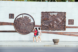 September 6, 2016 - Hangzhou, Hangzhou, China - Hangzhou,CHINA-?September 4 2016:?(EDITORIAL?USE?ONLY.?CHINA?OUT) The wall of bronze relief carvings in Tonglu County, Hangzhou, capital of east China¡¯s Zhejiang Province. The relief carvings cover about twenty scenic spots in Tonglu including Yaolin Fairyland in Tonglu County, which also provides reference for tourists. (Credit Image: © SIPA Asia via ZUMA Wire)