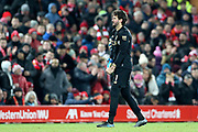 Liverpool goalkeeper Alisson Becker (1) starts the long walk back to the dressing room after being dent off by Referee Martin Atkinson during the Premier League match between Liverpool and Brighton and Hove Albion at Anfield, Liverpool, England on 30 November 2019.