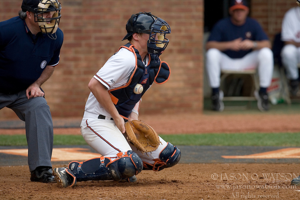 Virginia Cavaliers catcher Beau Seabury (16) stops a pitch in action against Miami.  The#5 Virginia Cavaliers baseball team defeated the Miami Hurricanes 3-0 Davenport Field in Charlottesville, VA on March 24, 2007.  The loss marked the first time in 168 games that Miami had been shutout.