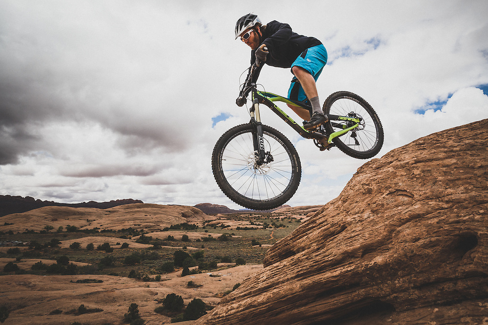 Dane Cronin mountain biking the Slickrock Trail in the Sand Flats Recreation Area, Moab, Utah.