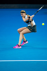January 26, 2019 - Melbourne, VIC, U.S. - MELBOURNE, AUSTRALIA - JANUARY 26 : Petra Kvitova of Êthe Czech Republic returns the ball during the final on day 13 of the Australian Open on January 26 2019, at Melbourne Park in Melbourne, Australia.(Photo by Jason Heidrich/Icon Sportswire) (Credit Image: © Jason Heidrich/Icon SMI via ZUMA Press)