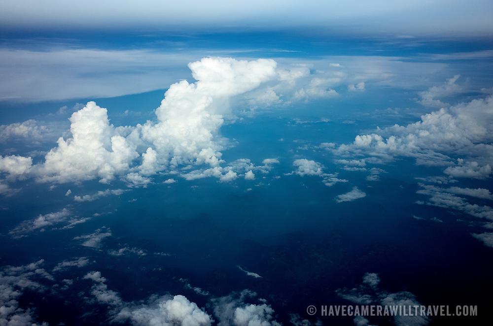 A view out the plane window flying over Mexico towards Mexico City.