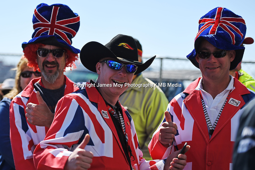British fans.<br /> United States Grand Prix, Saturday 1st November 2014. Circuit of the Americas, Austin, Texas, USA.