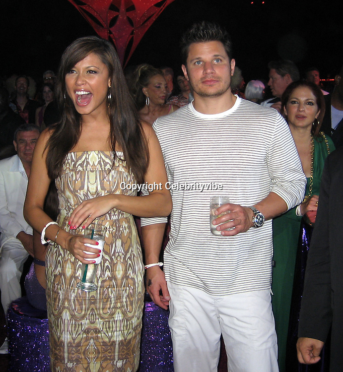 **EXCLUSIVE**.Vanessa Minillo & Nick Lachey.Silly 70's Party with performances by Aerosmith, Earth Wind, Fire & Village People & Stevie Wonder.Opening of Cain at The Cove Hotel.Grand Ballroom.Atlantis Hotel.Paradise Island, Bahamas.Saturday, May 12, 2007 .Photo By Celebrityvibe.To license this image please call (212) 410 5354; or.Email: celebrityvibe@gmail.com ;.