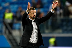 October 4, 2018 - Saint Petersburg, Russia - FC Zenit Saint Petersburg head coach Sergei Semak celebrates victory during the Group C match of the UEFA Europa League between FC Zenit Saint Petersburg and SK Sparta Prague at Saint Petersburg Stadium on October 4, 2018 in Saint Petersburg, Russia. (Credit Image: © Mike Kireev/NurPhoto/ZUMA Press)