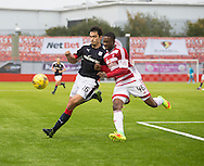 Dundee&rsquo;s Julen Etxabeguren in a race for the ball with Hamilton&rsquo;s Lennard Sowah - Hamilton v Dundee in the Ladbrokes Scottish Premiership at Superseal stadium, Hamilton. Photo: David Young<br /> <br />  - &copy; David Young - www.davidyoungphoto.co.uk - email: davidyoungphoto@gmail.com