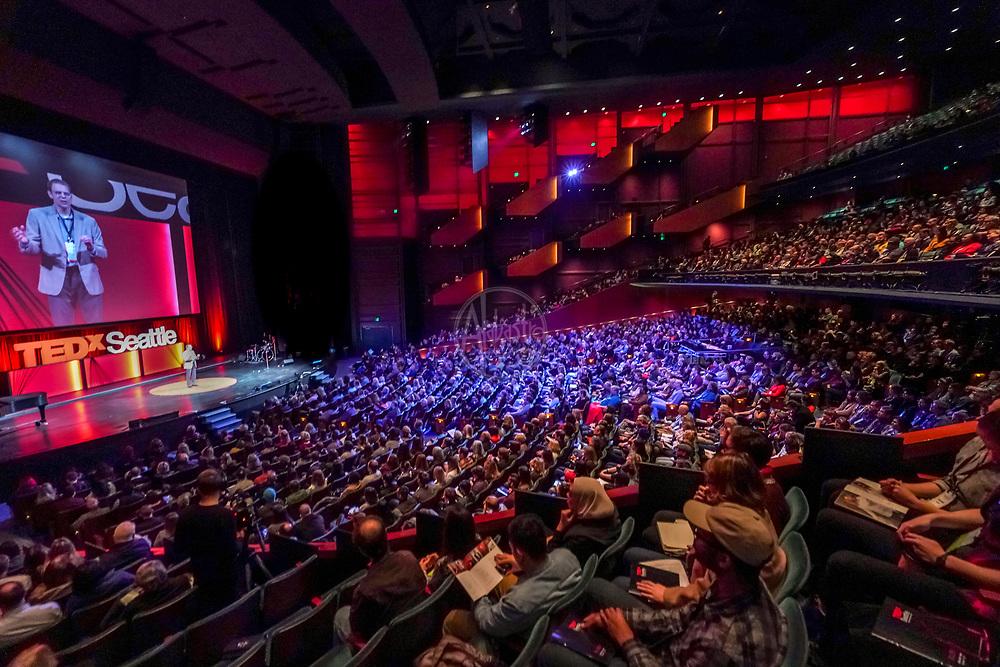 Tall Order TEDx Seattle 2018. John Kaufmann (TedX Seattle Interactive Host). Photo by Alabastro Photography.