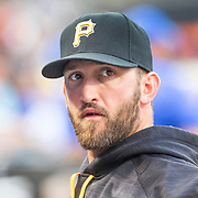 NEW YORK, NEW YORK - June 16: Pitcher Jonathon Niese #18 of the Pittsburgh Pirates in the dugout during the Pittsburgh Pirates Vs New York Mets regular season MLB game at Citi Field on June 16, 2016 in New York City. (Photo by Tim Clayton/Corbis via Getty Images)
