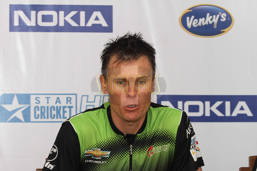 Johan Botha of the Warriors during the post match press conference during match 1 of the NOKIA Champions League T20 ( CLT20 )between the Royal Challengers Bangalore and the Warriors held at the  M.Chinnaswamy Stadium in Bangalore , Karnataka, India on the 23rd September 2011..Photo by Shaun Roy/BCCI/SPORTZPICS