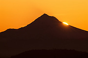 Silhouette of Mt. Hood at sunrise, Willamette valley, Oregon
