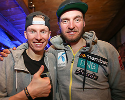 26.01.2016, Hohenhaus Tenne, Schladming, AUT, FIS Weltcup Ski Alpin, Schladming after Race Party, im Bild v.l. Henrik Kristoffersen (NOR), Norwegens Cheftrainer Alpin Herren Christian Mitter // Henrik Kristoffersen of Norway and his Coach Christian Mitter during the after Race Party of men's Slalom Race of Schladming FIS Ski Alpine World Cup at the Hohenhaus Tenne in Schladming, Austria on 2016/01/26. EXPA Pictures © 2016, PhotoCredit: EXPA/ Johann Groder