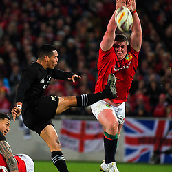 Tadhg Furlong charges down Aaron Smith's box kick during the 2017 DHL Lions Series rugby union match between the NZ All Blacks and British & Irish Lions at Eden Park in Auckland, New Zealand on Saturday, 24 June 2017. Photo: Dave Lintott / lintottphoto.co.nz