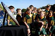 Fans look at the Ranfurly Shield prior to the Ranfurly Shield match between Otago and North Otago, held at Whitestone Contracting Stadium, Oamaru, New Zealand, 26 July 2019. Credit: Joe Allison / www.Photosport.nz