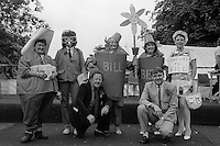 Folk singer Mike Harding and Channel 4 TV Presenter Trevor Hyatt. Adult Fancy Dress left to right; 4th Jean Walker, Thurcroft; 3rd Sheila Close, Thurcroft; 2nd Brenda Gray & Rose Mounsey Brodsworth; 1st Jane Cook, Grimethorpe. 1988 Yorkshire Miner's Gala. Wakefield.
