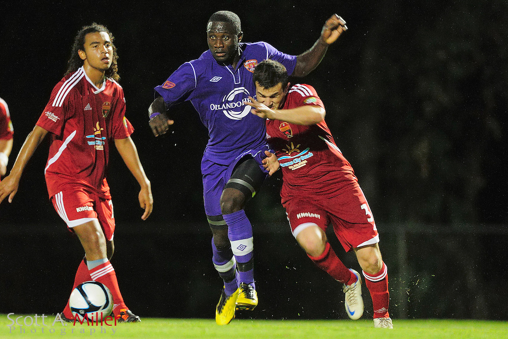 Orlando City's Joseph Toby (5) and Panama City's Vincent Torres (3) fight for the ball during their Premier Development League game at the Seminole Soccer Complex on May 19, 2012 in Sanford, Fla. ..©2012 Scott A. Miller.