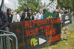August 12, 2017 - Charlottesville, Virginia, United States - Alt Right/White Supremacists tried to hold the park in a vain attempt before being vacated by the Virginia STate police on 12 August 2017 in Charlottesville, Virginia, USA.  The Unite the Right instigated brawls between Antifa and various leftists. The brwal ensued and the White Supremacists/Alt Right supporters were forcibly removed by police. (Credit Image: © Shay Horse/NurPhoto via ZUMA Press)