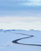 Road Lyngdalsheiði in winter. South Iceland.
