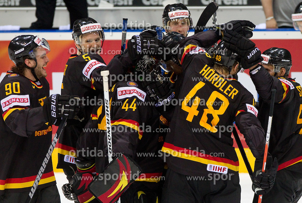 Constantin Braun of Germany, Korbinian Holzer of Germany, Dennis Endras of Germany, Frank Hordler of Germany, Felix Schutz of Germany celebrate after the penalty shots during ice-hockey match between Slovenia and Germany of Group A of IIHF 2011 World Championship Slovakia, on May 3, 2011 in Orange Arena, Bratislava, Slovakia. Germany defeated Slovenia 3-2 after overtime and penalty shots. (Photo By Vid Ponikvar / Sportida.com)