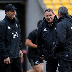 Coaches Scott McLeod, Steve Hansen and Ian Foster. All Blacks training at Westpac Stadium in Wellington, New Zealand on Thursday, 14 June 2018. Photo: Dave Lintott / lintottphoto.co.nz