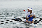 2006 FISA World Cup, Lucerne, SWITZERLAND, 08.07.2006. ITA LM2X Bow Marcello MIANI and Elia LUINI, Photo  Peter Spurrier/Intersport Images email images@intersport-images.com....[Mandatory Credit Peter Spurrier/Intersport Images... Rowing Course, Lake Rottsee, Lucerne, SWITZERLAND.