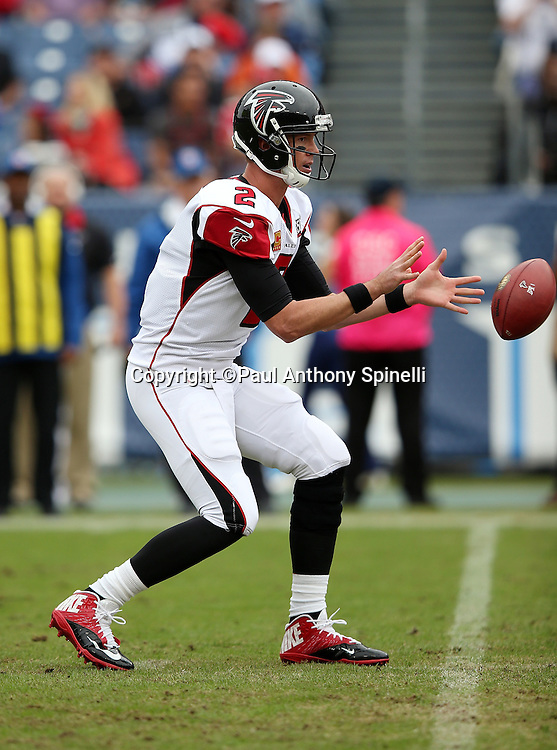 Atlanta Falcons quarterback Matt Ryan (2) catches a snap in the shotgun formation during the 2015 week 7 regular season NFL football game against the Tennessee Titans on Sunday, Oct. 25, 2015 in Nashville, Tenn. The Falcons won the game 10-7. (©Paul Anthony Spinelli)