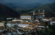 Ouro Preto, Praça Tiradentes with Museu da Inconfidencia and N.S. do Carmo church.