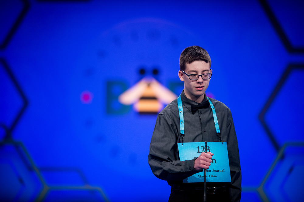 Owen Kovalik, 14, from Medina, Ohio, participates in the finals of the 2017 Scripps National Spelling Bee on Thursday, June 1, 2017 at the Gaylord National Resort and Convention Center at National Harbor in Oxon Hill, Md.      Photo by Pete Marovich/UPI