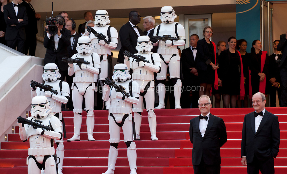Festival President Pierre Lescure,  Festival Director Thierry Fremaux and Storm Troopers on the red steps at the Solo: A Star Wars Story gala screening at the 71st Cannes Film Festival, Tuesday 15th May 2018, Cannes, France. Photo credit: Doreen Kennedy