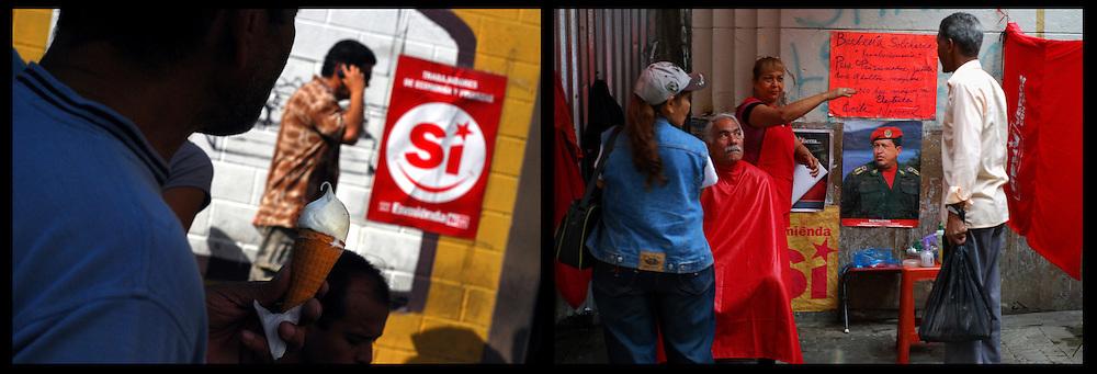 DAILY VENEZUELA II / VENEZUELA COTIDIANA II<br /> Photography by Aaron Sosa <br /> <br /> Left:  Political campaign of Chavismo, Caracas - Venezuela 2009 / Campaña politica del Chavismo, Caracas - Venezuela 2009<br /> <br /> Right: Bolivarian Barberie, Caracas - Venezuela 2007 / Barberia Bolivariana, Caracas - Venezuela 2009<br /> <br /> (Copyright © Aaron Sosa)