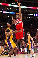 22 March 2013: Forward (13) Kevin Seraphin of the Washington Wizards shoots the ball against the Los Angeles Lakers during the second half of the Wizards 103-100 victory over the Lakers at the STAPLES Center in Los Angeles, CA.