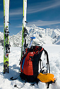 Backcountry ski touring gear, North Cascades Washington USA