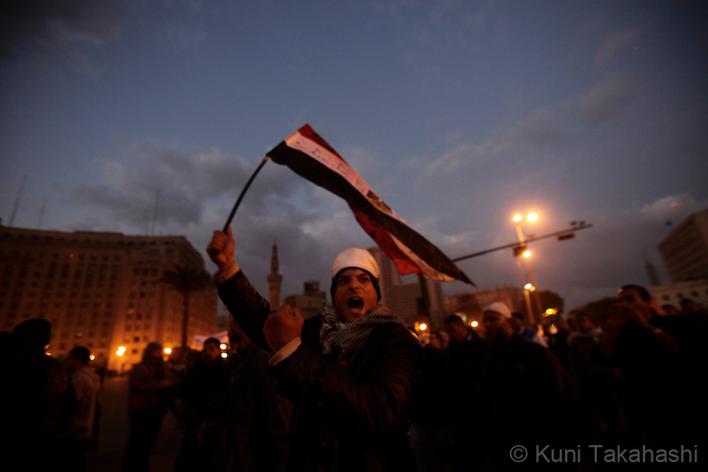 Anti-government protesters gather at Tahir Square in Cairo Egypt on Feb 8, 2011- the 15th day of uprising demanding President Hosni Mubarak to step down. .Photo by Kuni Takahashi