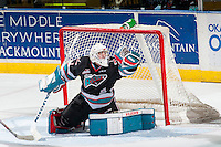 KELOWNA, CANADA - DECEMBER 5: Jackson Whistle #1 of Kelowna Rockets makes a save against the Portland Winterhawks on December 5, 2015 at Prospera Place in Kelowna, British Columbia, Canada.  (Photo by Marissa Baecker/Shoot the Breeze)  *** Local Caption *** Jackson Whistle;