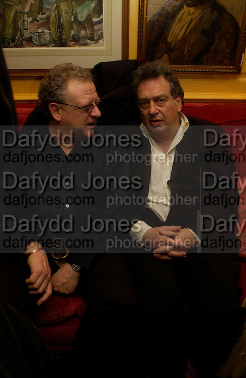 Jeremy Thomas and Bernardo Bertollucci. Artists Independent Networks  Pre-BAFTA Party at Annabel's co hosted by Charles Finch and Chanel. Berkeley Sq. London. 11 February 2005. . ONE TIME USE ONLY - DO NOT ARCHIVE  © Copyright Photograph by Dafydd Jones 66 Stockwell Park Rd. London SW9 0DA Tel 020 7733 0108 www.dafjones.com