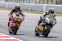 Federico Fuligni of Italy and Forwad Junior Team and Thomas Luthi of Switzerland and CarXpert Racing Team rides during free practice for the Moto2 of Catalunya at Circuit de Catalunya on June 9, 2017 in Montmelo, Spain.(ALTERPHOTOS/Rodrigo Jimenez)