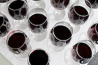 23 July, 2008. New York, NY. Some of the  25 bottles of the Cote-du-Rhone wine tasting at the New York Times building. The wine panel is composed of New York Times chief wine critic Eric Asimov, New York Times food writer Florence Fabricant, wine director Chris Goodhart of the Balthazar restaurant, and wine director Belinda Chang of The Modern restaurant. <br /> <br /> &copy;2008 Gianni Cipriano for The New York Times<br /> cell. +1 646 465 2168 (USA)<br /> cell. +1 328 567 7923 (Italy)<br /> gianni@giannicipriano.com<br /> www.giannicipriano.com