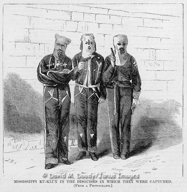 KKK men as prisoners. Vintage Illustration:  Harper's Weekly  1872 KKK  murders of blacks Alabama, Virginia, Georgia, Mississippi