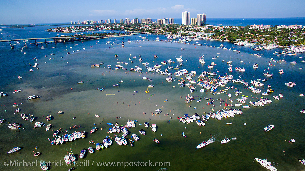 Boaters gather at the sandbar near Peanut Island in Singer Island, Florida  during the 2016 Labor Day Weekend.