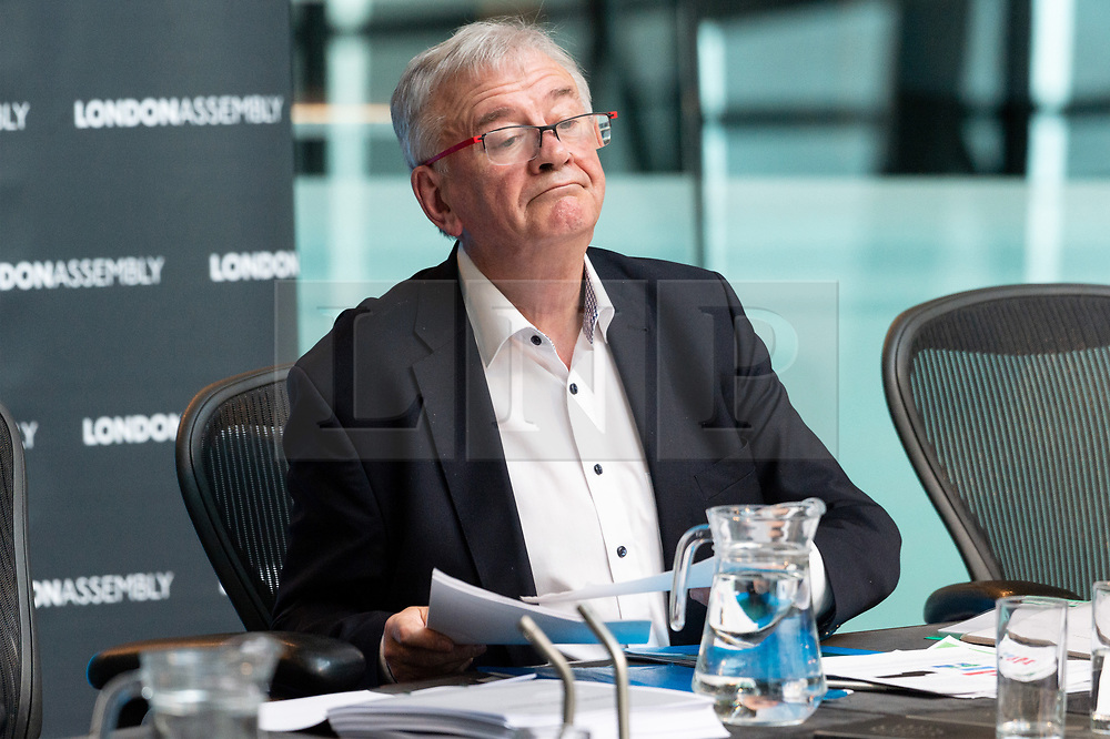 © Licensed to London News Pictures. 09/01/2019. London, UK.  Sir Terry Morgan, former Chair of Crossrail attends London Assembly meeting on the delay of the Crossrail project. The Transport Committee try also try to get to the bottom of the disparity between the former Chair's account and that of the London Mayor Sadiq Khan's account of the delay. Photo credit: Ray Tang/LNP
