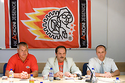Ildar Rahmatullin, Zvone Suvak and Slavko Kanalec  at press conference of HK Acroni Jesenice before new season 2009/2010, on July 23 2009, in Jesenice, Slovenia. (Photo by Vid Ponikvar / Sportida)
