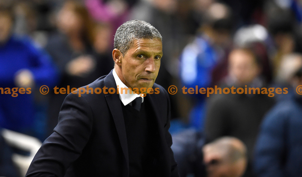 Brighton manager Chris Hughton during the Sky Bet Championship match between Brighton and Hove Albion and Wolverhampton Wanderers at the American Express Community Stadium in Brighton and Hove. October 18, 2016.<br /> Simon  Dack / Telephoto Images<br /> +44 7967 642437