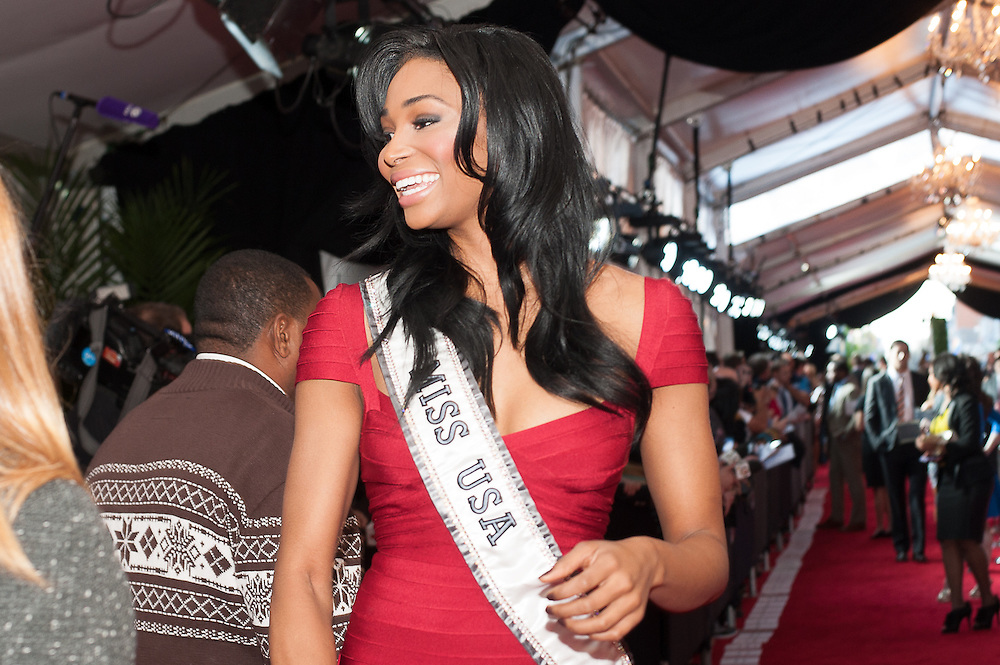 Miss USA posing at  the Mahalia Jackson Theatre NFL Honors in New Orleans, Louisiana on Feb.2 2013.