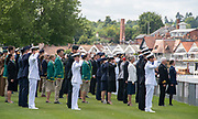 Henley on Thames, England, United Kingdom, Tuesday, 02.07.19, Members of the crews of the Armed Forces, taking part in the King's Cup, salute,  in respect of those who have lost their lives in War, Henley Royal Regatta,  Henley Reach, [©Karon PHILLIPS/Intersport Images]<br /> <br /> 12:12:20 1919 - 2019, Royal Henley Peace Regatta Centenary,