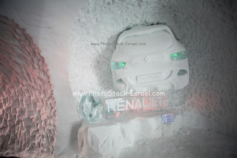ice statue of a Renault car Tignes, France, Ski resort