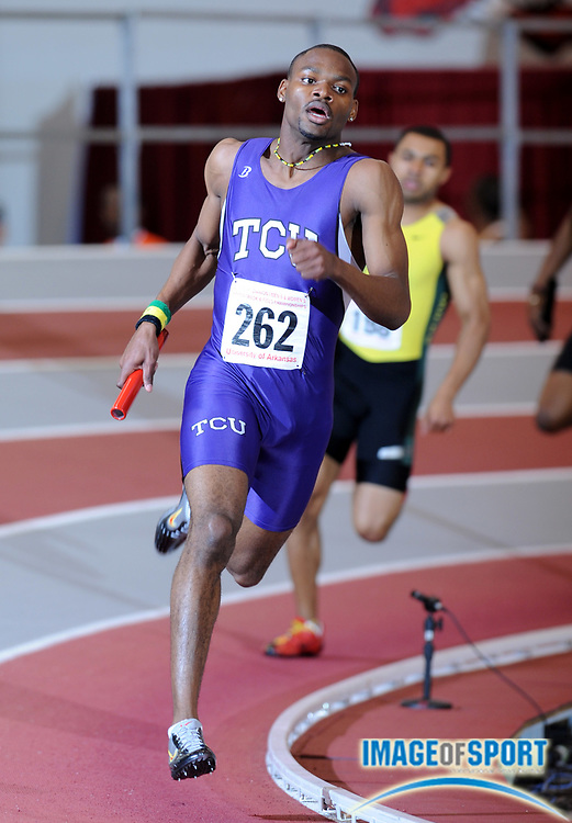 Mar 15, 2008; Fayetteville, AR, USA; Clemore Henry runs the third leg on TCu 4 x 400m relay that placed second in 3:06.19 in the NCAA indoor track and field championships at the Randal Tyson Center.