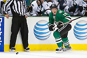 DALLAS, TX - OCTOBER 17:  Ryan Garbutt #16 of the Dallas Stars controls the puck against the San Jose Sharks on October 17, 2013 at the American Airlines Center in Dallas, Texas.  (Photo by Cooper Neill/Getty Images) *** Local Caption *** Ryan Garbutt