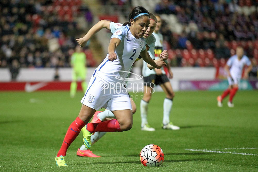 Alex Scott (England) runs into the Belgium box during the Euro 2017 qualifier between England Ladies and Belgium Ladies at the New York Stadium, Rotherham, England on 8 April 2016. Photo by Mark P Doherty.