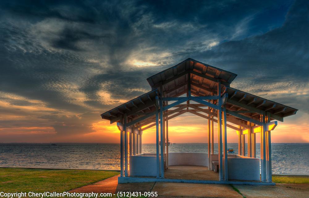 Gazebo on the coast of Florida with a beautiful sunset